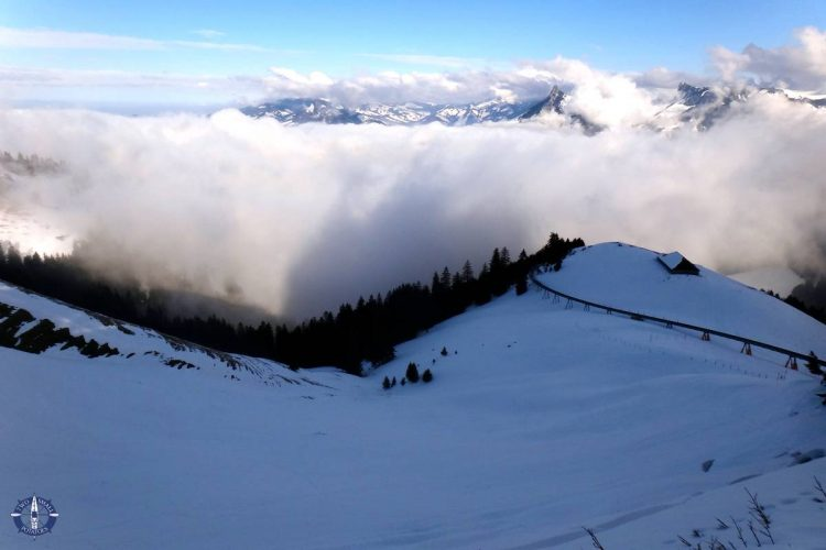 View of Swiss Alps from sled run at Moleson-sur-Gruyeres