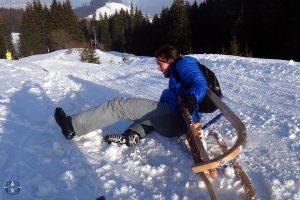 Friend crashing on his sled at Moleson