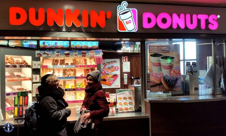 Re-fueling at Dunkin' Donuts while sightseeing in Berlin