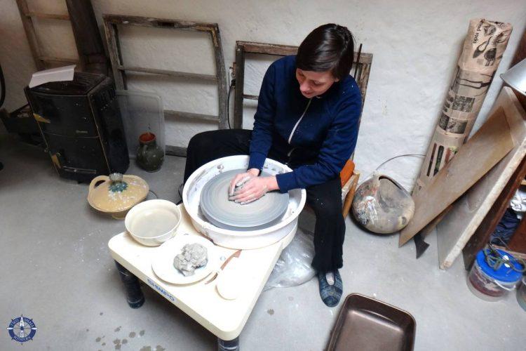 Dorota making pottery at her mom's studio in Poland