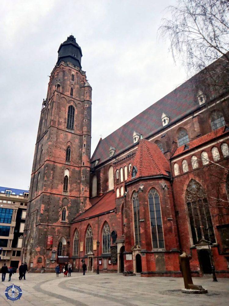 Exterior of Church of St Elizabeth in Wroclaw, Poland
