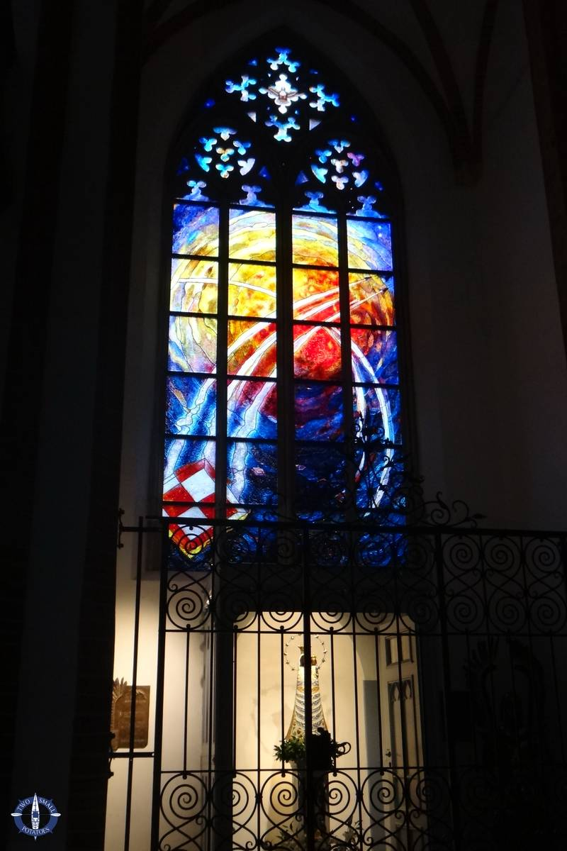 Stained glass inside St Elizabeth's in Wroclaw