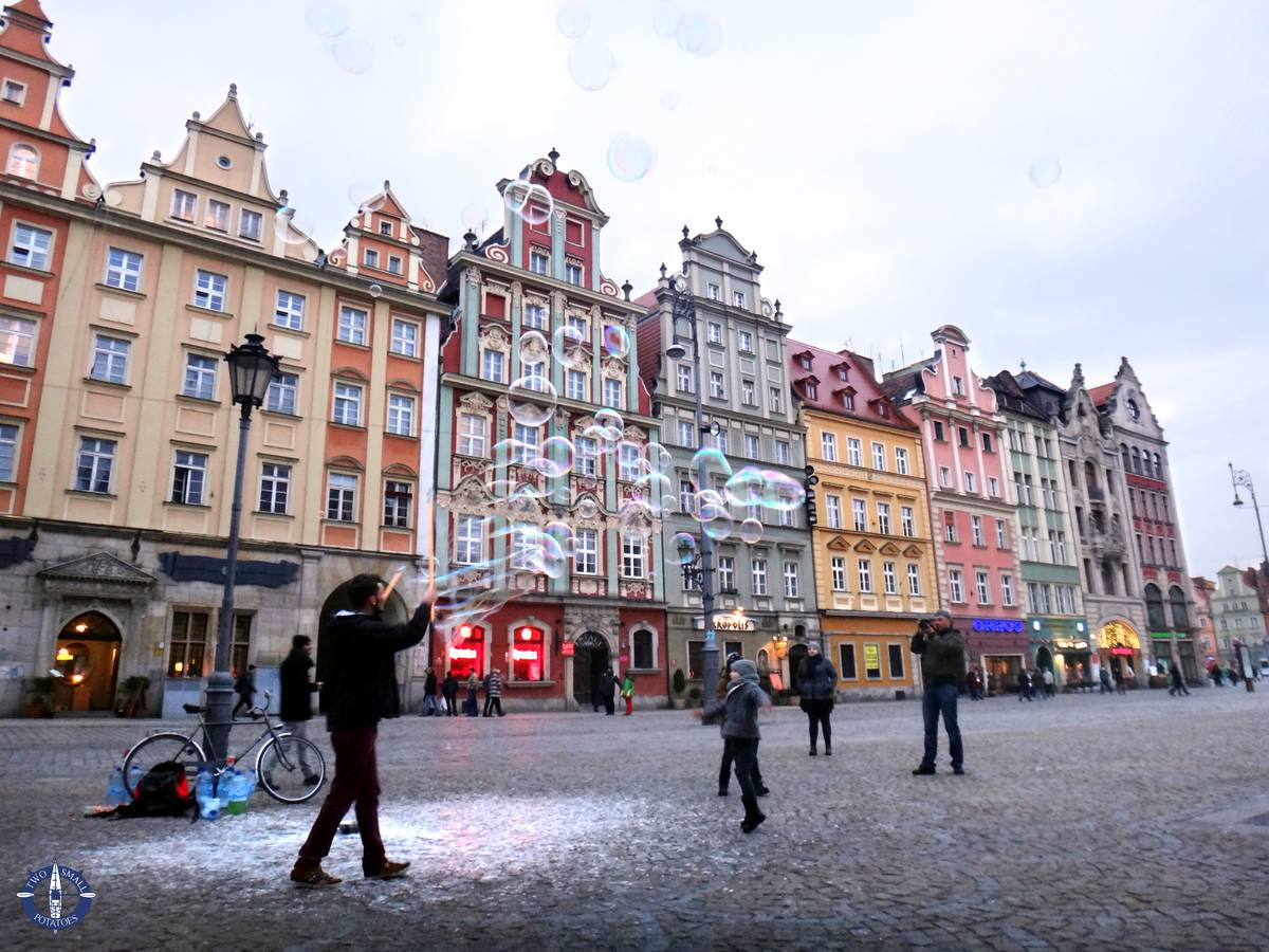 Man blowing in Market Square, one of the highlights of Wroclaw