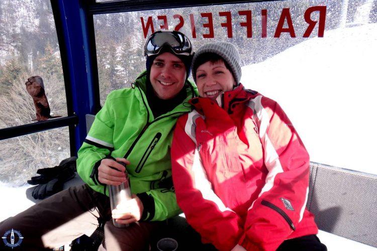 Friends riding the gondola to the Vounetz Summit