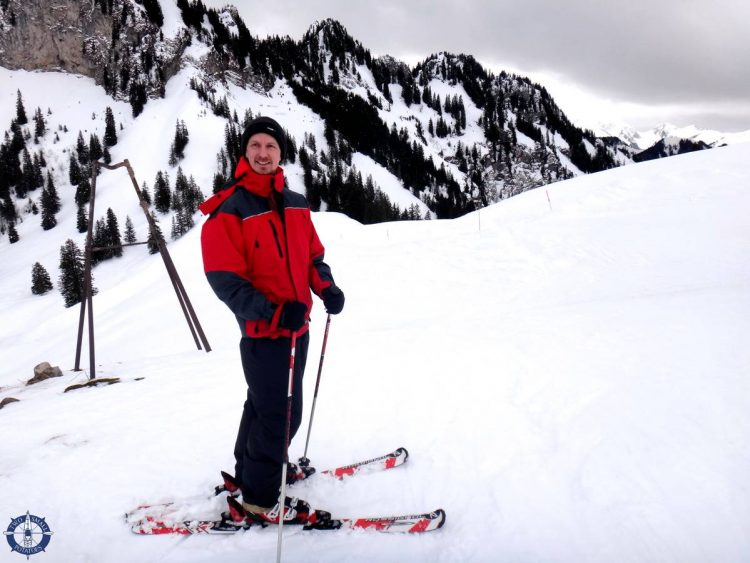 Travis downhill skiing for the first time from Vounetz in the Swiss Alps