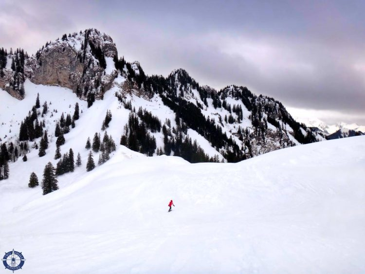 Two Small Potatoes skiing at Charmey Ski Area in Switzerland