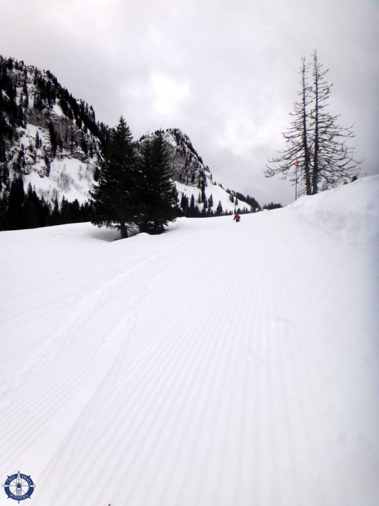 Travis skiing from Vounetz Summit in the Alps