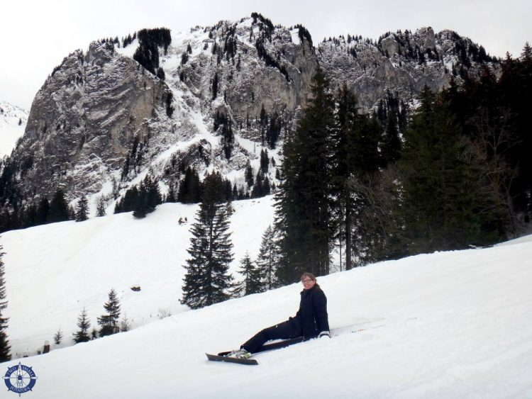 Me on my butt while skiing in the Swiss Alps