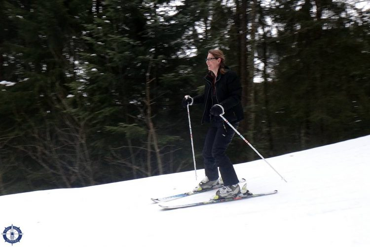 One of Two Small Potatoes skiing in Europe for the first time!