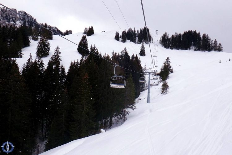 Ski lifts below Vounetz above Charmey, Switzerland