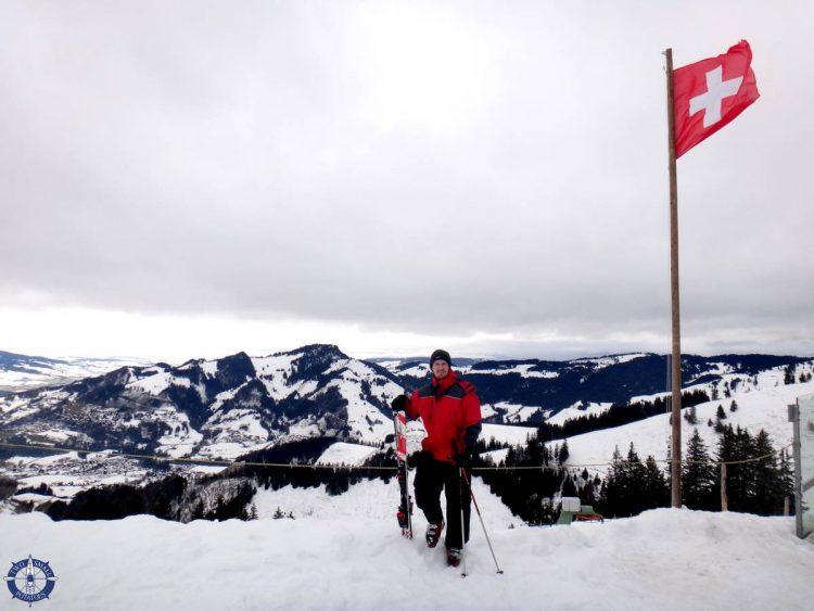 Travis at the Vounetz summit overlooking Charmey, Switzerland