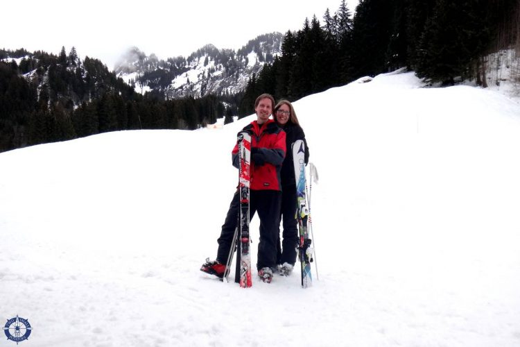 Two Small Potatoes skiing in Charmey, Switzerland