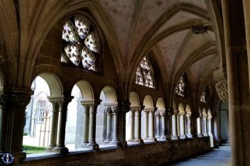 Arched windows in hallway at Hauterive Abbey