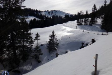 Snowshoeing at La Berra, Switzerland