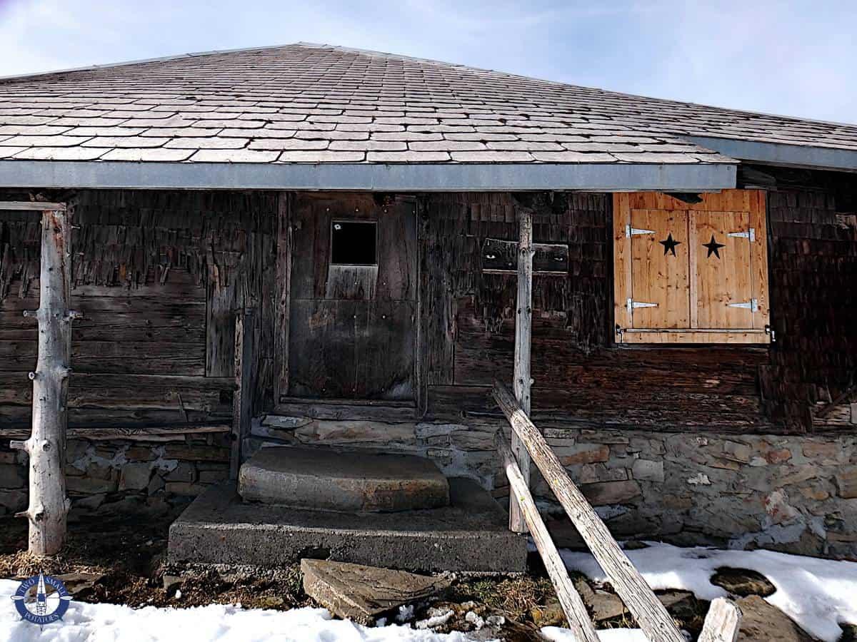 Fillistorfena alpine hut while snowshoeing La Berra, Switzerland