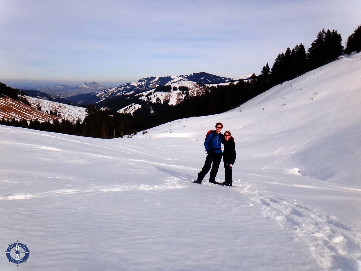 Snowshoeing at La Berra in Switzerland