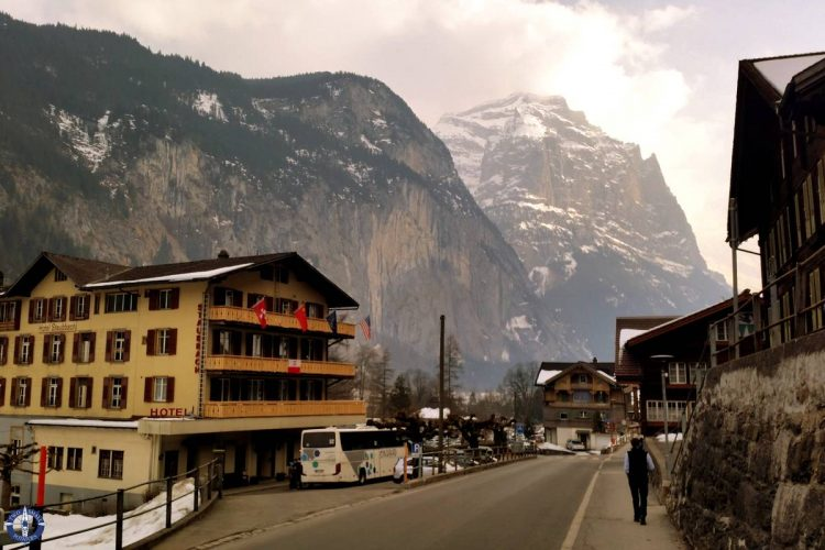 Staubbach waterfall is in the tiny town of Lauterbrunnen