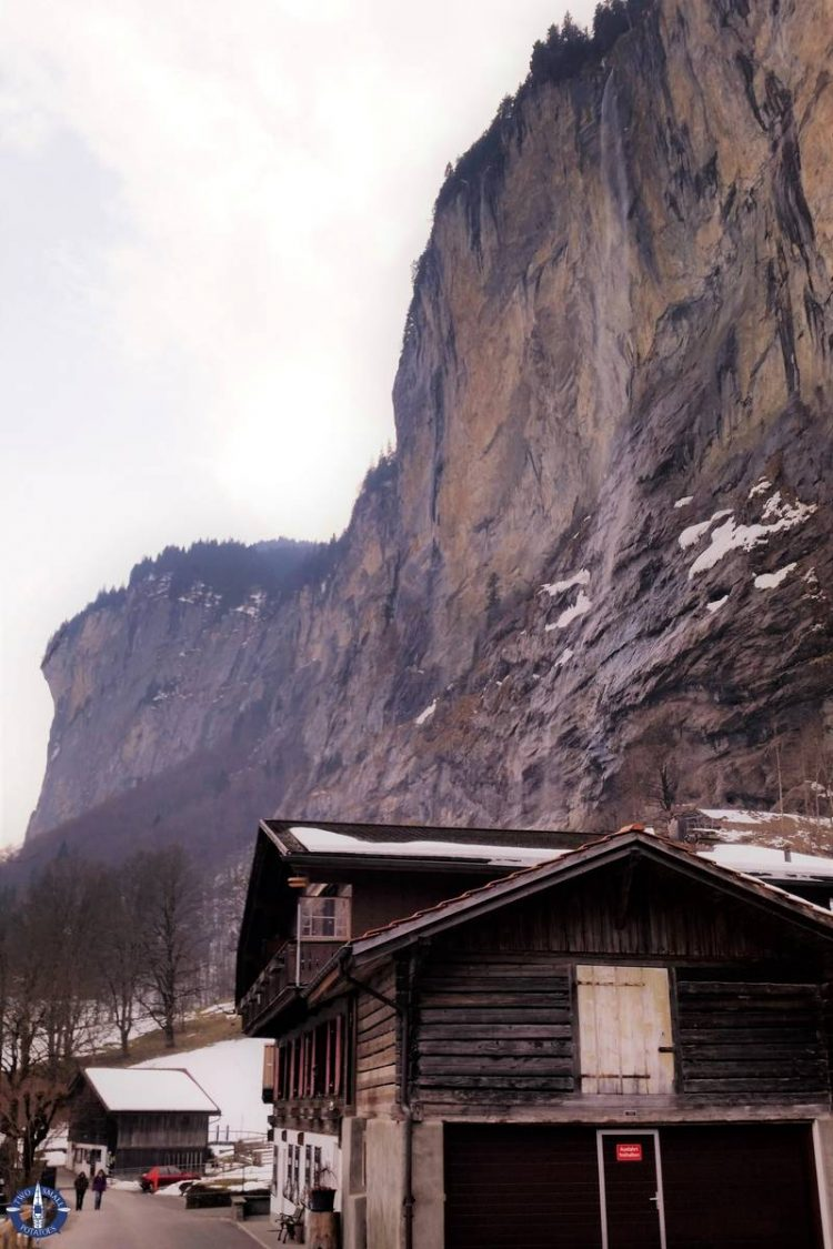 Dry Staubbach Falls during the winter in Switzerland