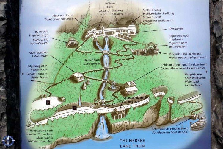 Map of St Beatus Caves in Switzerland
