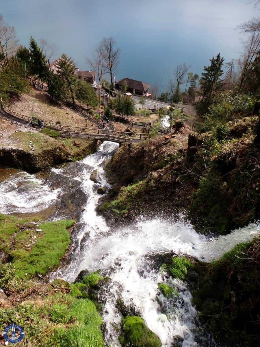 Looking down at the waterfalls at St. Beatus Caves