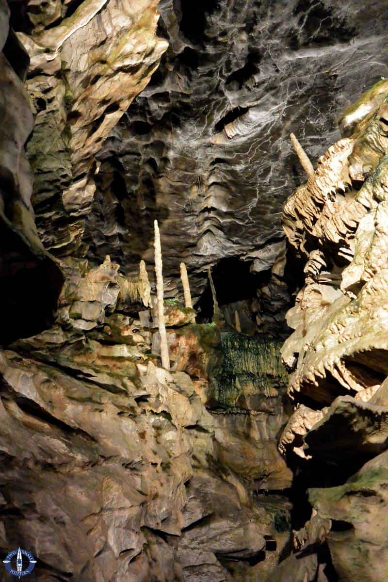 Stalagmites in a cave in the Swiss Alps