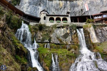Waterfalls at St. Beatus Caves in Switzerland