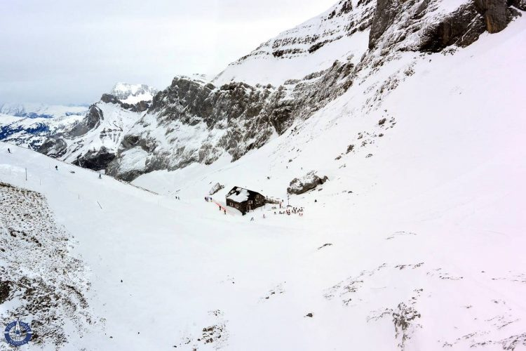 Cabane des Diablerets mountain hut in the Swiss Alps