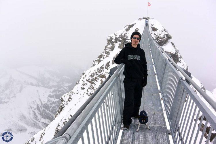 Travis on the Peak Walk suspension bridge in Switzerland