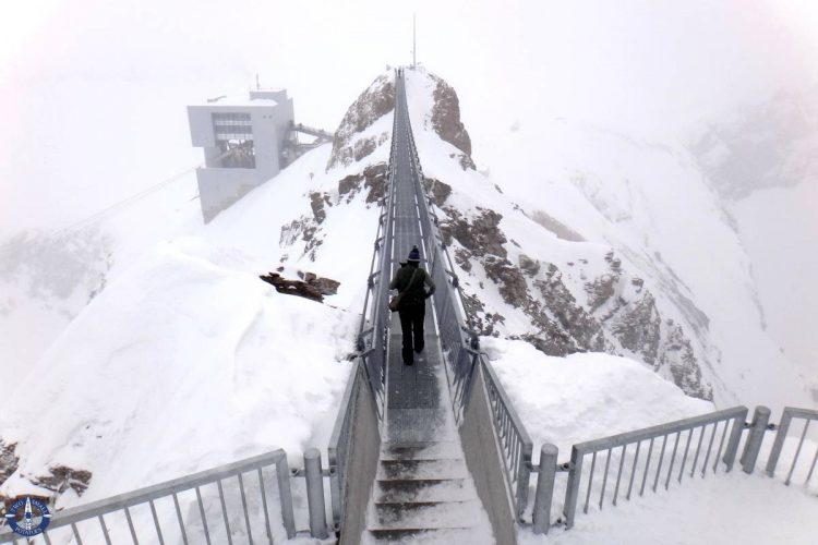 Walking across the suspension bridge at Scex Rouge, Switzerland