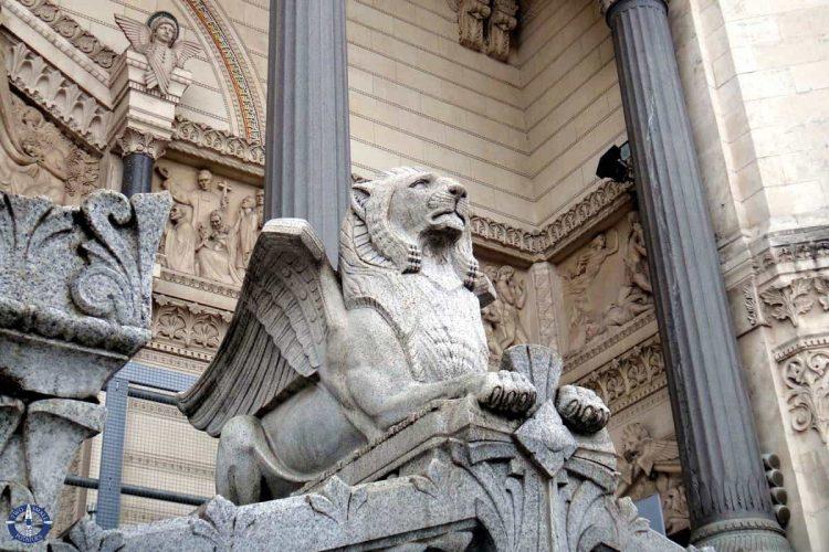 Lion statue at the entrance of Notre Dame de Fourviere Basilica in Lyon