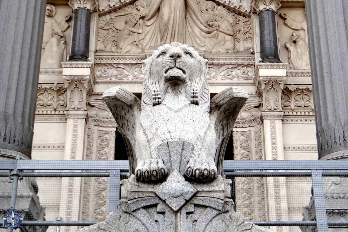Winged lion at the entrance of Basilique Notre-Dame de Fourviere