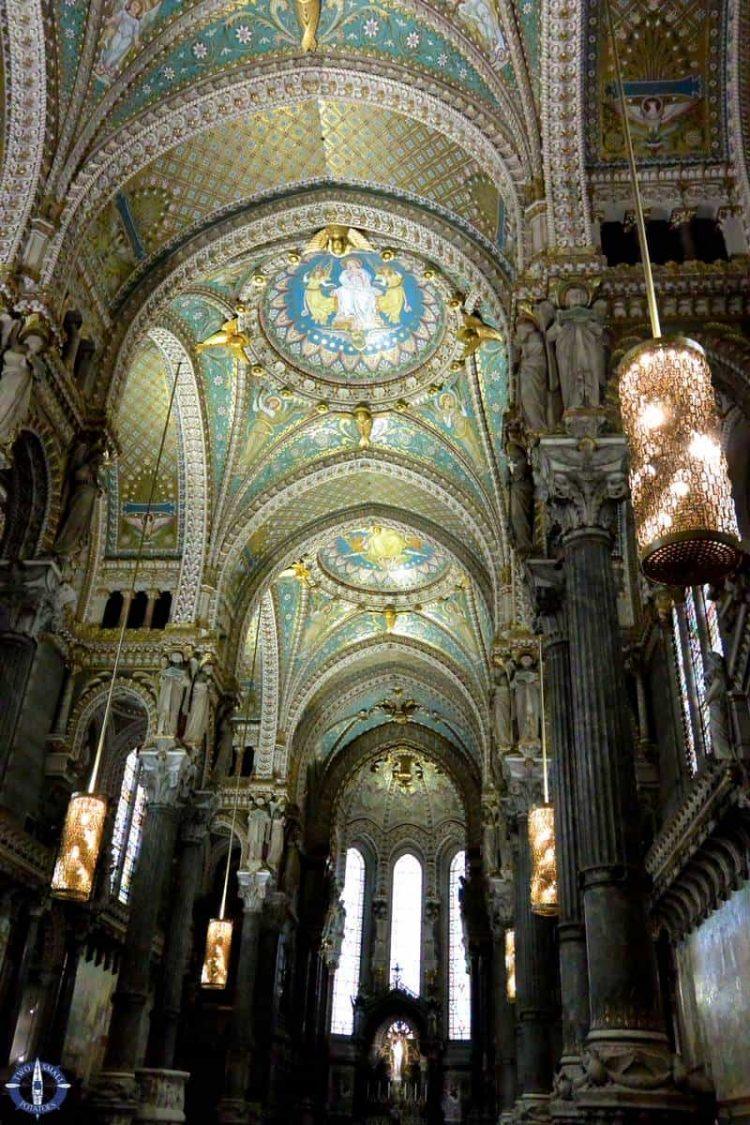 Shiny gold interior of Notre-Dame de Fourviere in Lyon
