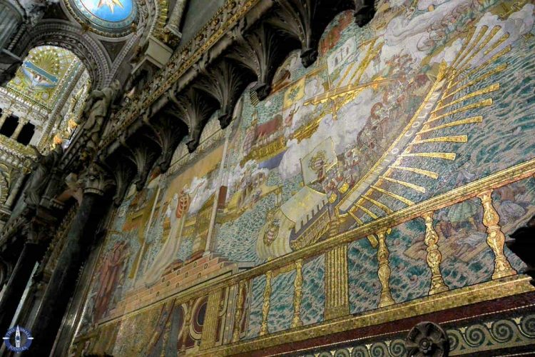Gold mosaics inside Fourviere Basilica, one of the best UNESCO sites in Lyon