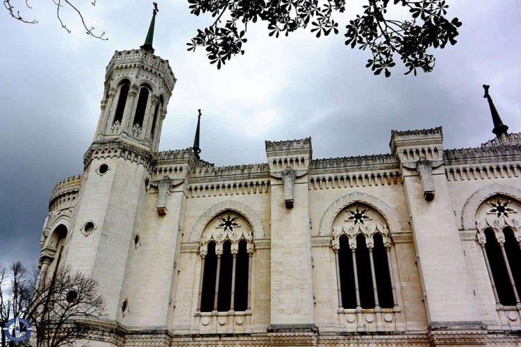 Exterior of Basilique Notre Dame de Fourviere in Lyon, France