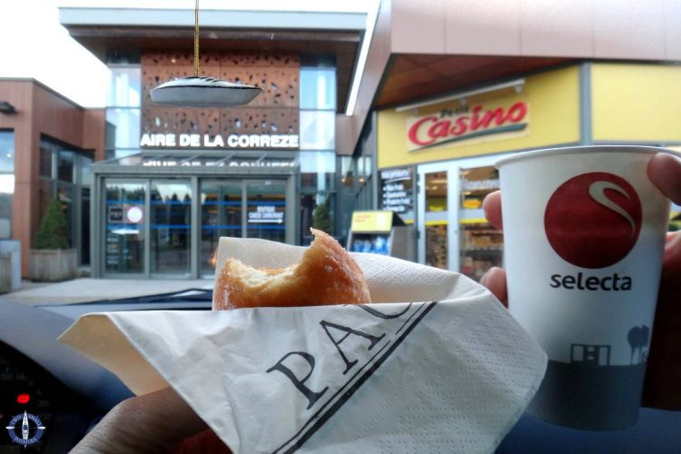 Breakfast at a gas station in France