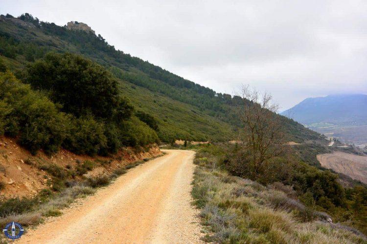 Road to Monjardin Castle in Spain