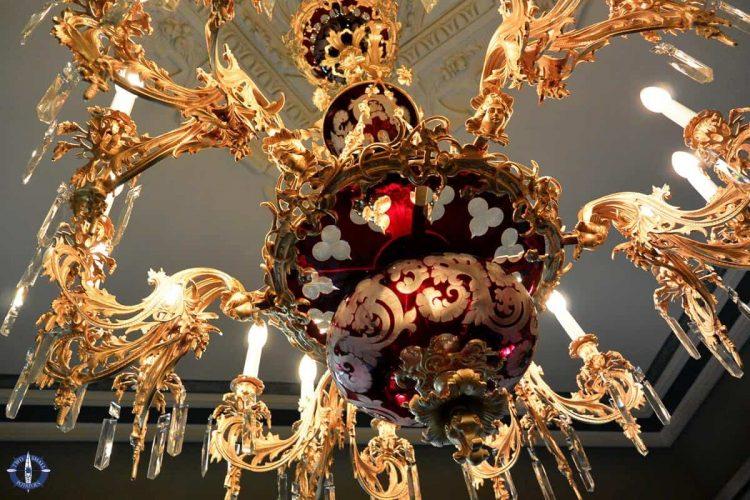 Murano glass lamp at the Cerralbo Museum, Madrid