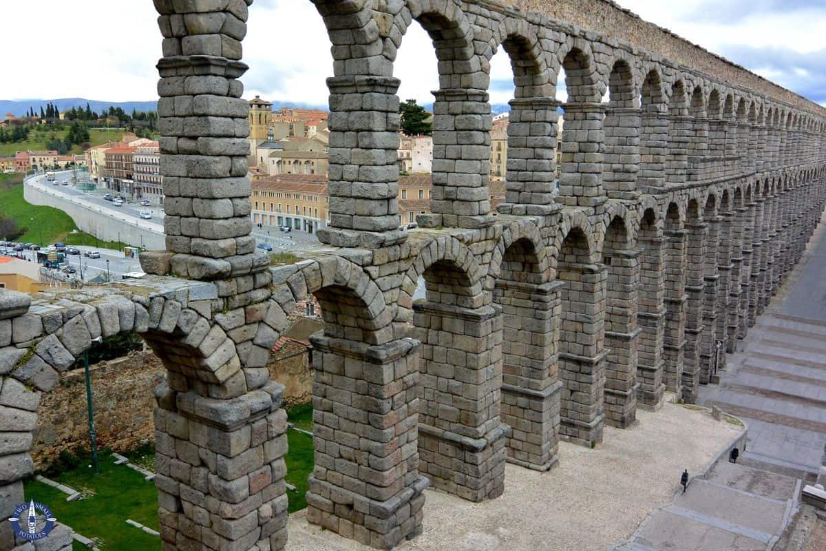 Roman Aqueduct in Segovia's Old Town, Spain