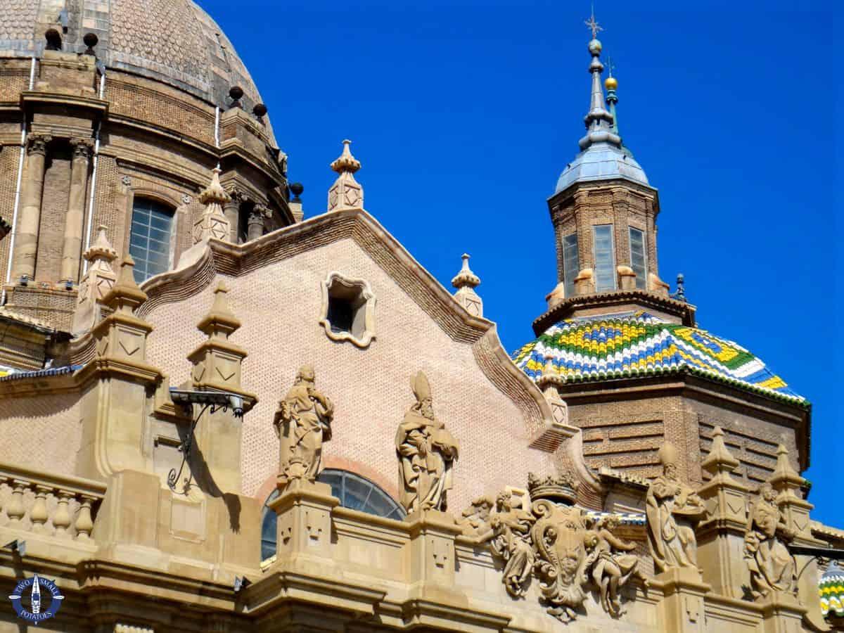 Colorful tiled roof of the Basilica de Nuestra Senora del Pilar in Zaragoza