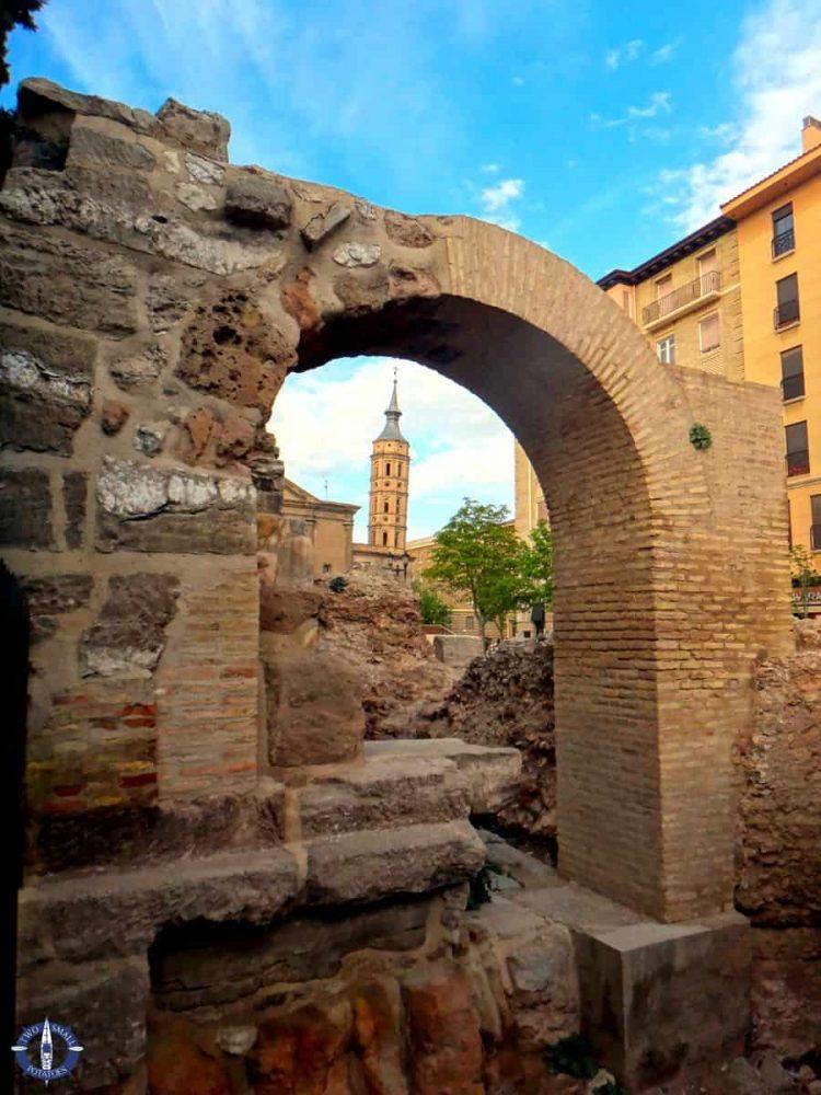 Ancient Roman walls in Zaragoza, Spain