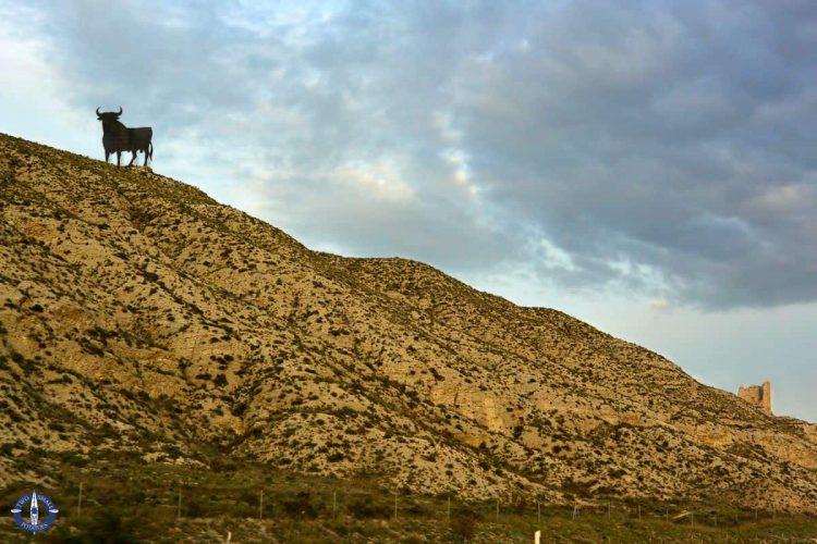 Huge bull statue in Aragon, Spain