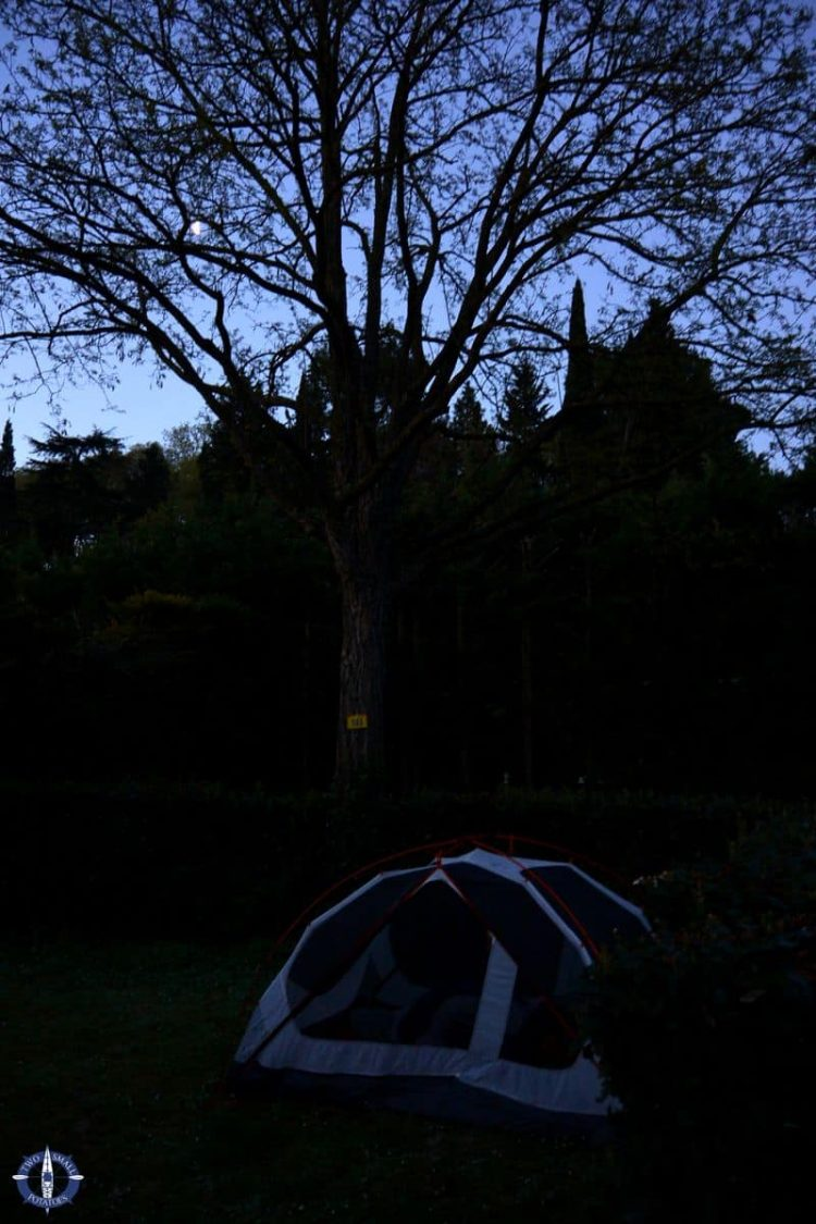Our tent at night at Camping de la Cite near Carcassonne, France
