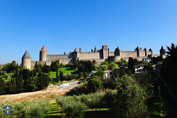Walled medieval Cite de Carcassonne, citadel in France