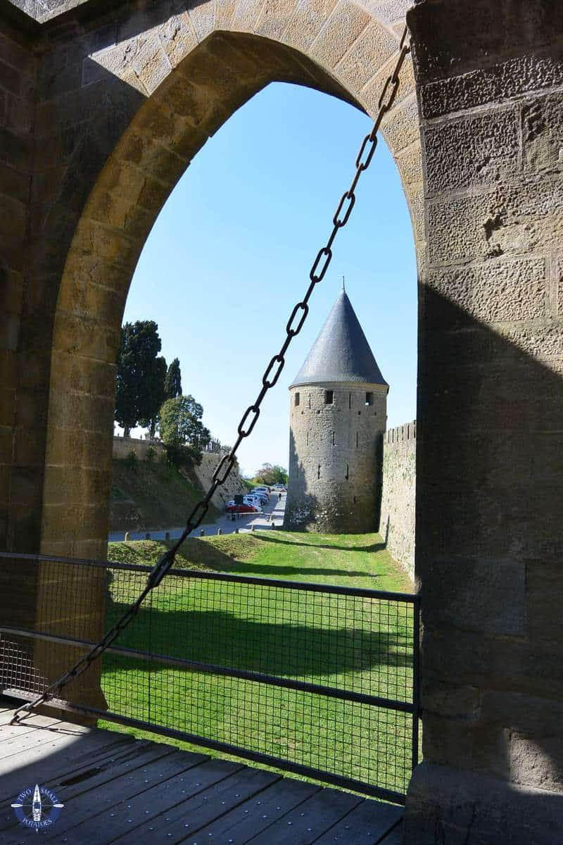 Porte Narbonnaise Gate in the medieval city of Carcassonne, France
