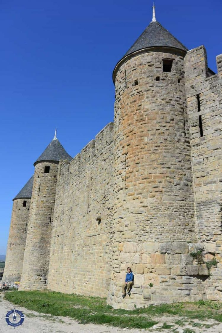 Inner castle walls of Cite de Carcassonne, medieval city in France
