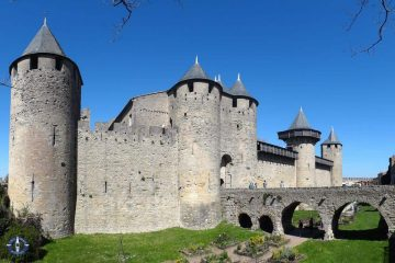 Chateau Comtal in the medieval walled city of Carcassonne, France