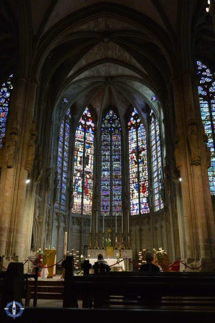 Interior of Gothic Basilique Saint Nazaire