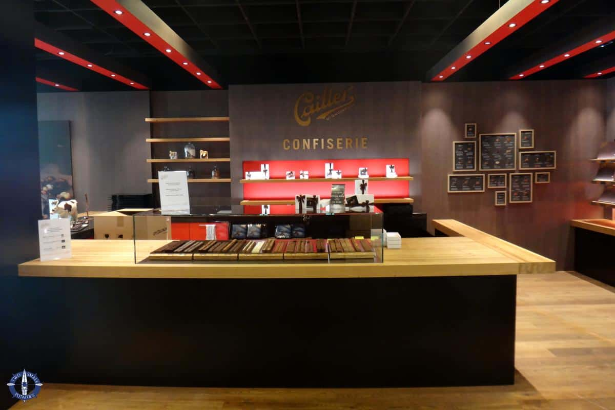 Gift shop at Maison Cailler chocolate factory in Broc