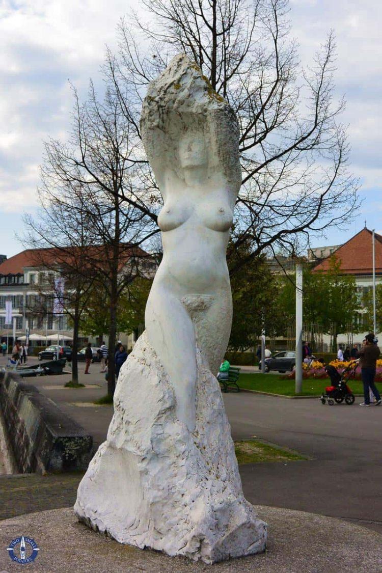 Virgin of the Lake statue on the Quai de Belgique in Lausanne, Switzerland