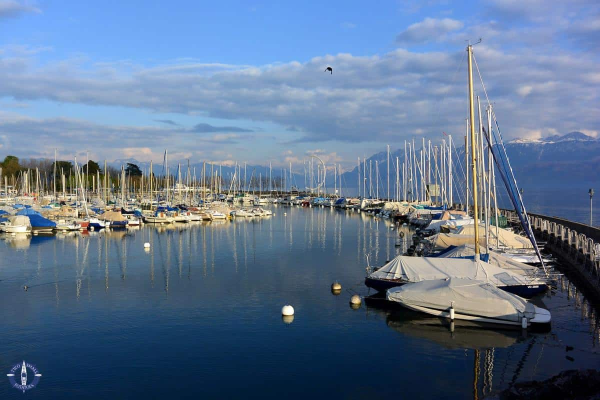 Sailboats at the marina at Port d'Ouchy in Lausanne, Switzerland